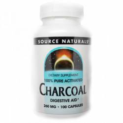 Уголь 260мг, Source Naturals, 100 капсул