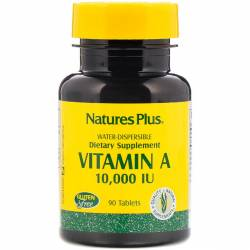 Витамин А, Vitamin A, Nature's Plus, 10,000 МЕ, 90 таблеток