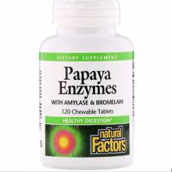 Энзимы Папайи, Papaya Enzymes, Natural Factors, 120 Таблеток