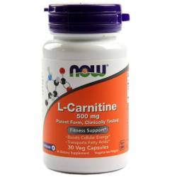 L- Карнитин, L-Carnitine, Now Foods, 500 мг, 30 капсул