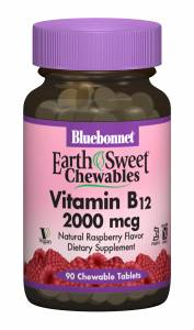 Витамин В12 2000мкг, Малина, Earth Sweet Chewables, Bluebonnet Nutrition, 90 жевательных таблеток