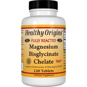 Магний Бисглицинат, Magnesium Bisglycinate Chelate, Healthy Origins, 200 мг, 120 таблеток
