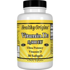 Витамин D3, Vitamin D3, 5000 IU, Healthy Origins, 30 капсул