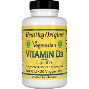 Витамин D3 для Вегетарианцев, Vegetarian Vitamin D3, 5000 IU, Healthy Origins, 30 капсул