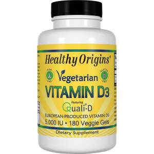 Витамин D3 для Вегетарианцев, Vegetarian Vitamin D3, 5000 IU, Healthy Origins, 180 капсул
