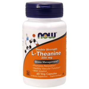 L-Теанин, L-Theanine, Double Strength, Now Foods, 200 мг, 60 вегетарианских капсул